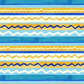 Gouache Stripe & Ricrac Pattern - Cream - Small Version