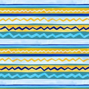 Gouache Stripe & Ricrac Pattern - Teal - Small Version