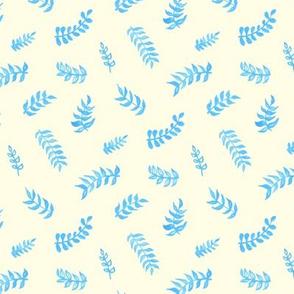 Scandi Gouache Leaves - Cream & Sky Blue