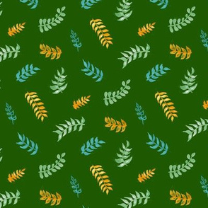 Scandi Gouache Leaves - Forest Green, Sage, Mustard & Teal