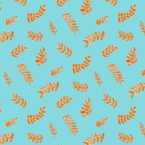 Scandi Gouache Leaves - Mint & Orange
