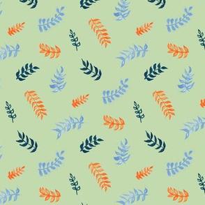 Scandi Gouache Leaves - Sage, Orange, Cornflower Blue & Navy