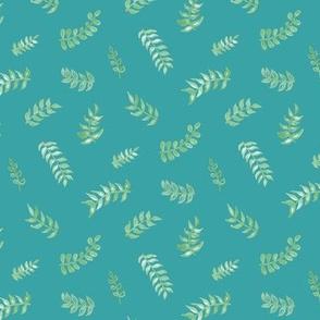 Scandi Gouache Leaves - Teal & Sage