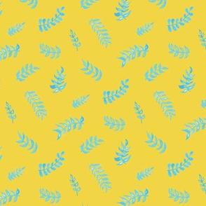 Scandi Gouache Leaves - Bold Yellow & Sky Blue