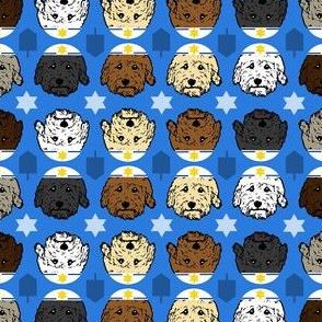 Doodle dogs - Hanukkah dogs on blue