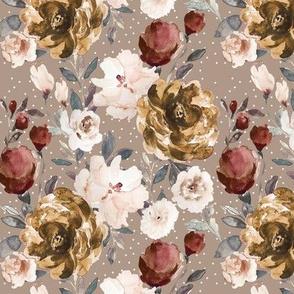 IBD Autumn cocoa cream peonies Taupe 6x6
