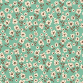 Daisy fields in Teal-4x4