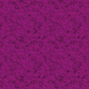 Messy Dinosaur traces over purple