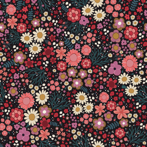 Simple hand drawn flowers pattern