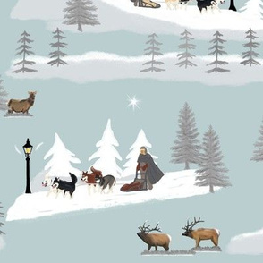 [Large Prints] Mushing Winter - Gray backdrop, Large prints