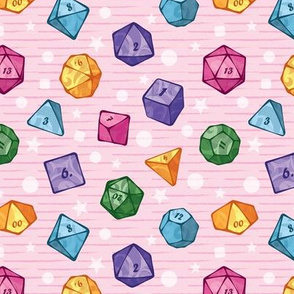 Cute colorful dice on pink