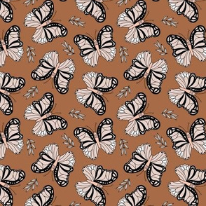 Seventies retro butterfly garden pale pink blush and copper rust