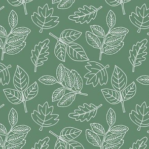 Delicate Scandinavian boho style autumn leaves oak maple and birch eucalyptus green baby nursery