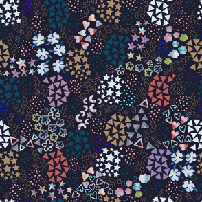 Small Scale Abstract Flowers Ditsy Pattern