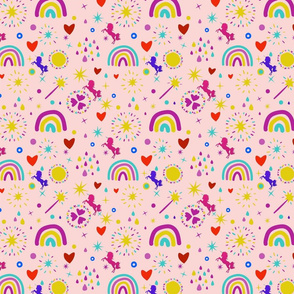 Unicorns Rainbows Hearts & Magic Baby Pink Background, SPSD