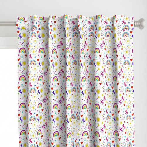 Unicorns Rainbows Hearts & Magic Baby White Background Curtain Panel