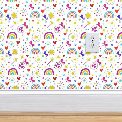 Unicorns Rainbows Hearts & Magic Baby White Background Peel and Remove Wallpaper