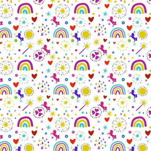 Unicorns Rainbows Hearts & Magic Baby White Background, SPSD