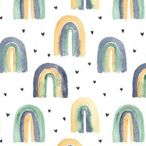 Watercolor Blue Yellow Green Rainbows and Hearts Nursery