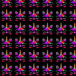 Unicorn Face Pattern Black Background, SPSD