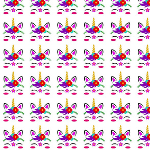 Unicorn Face Pattern White Background, SPSD