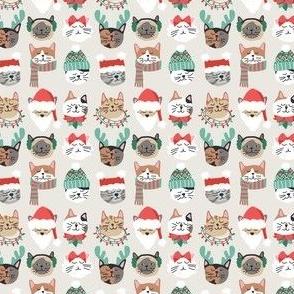 Christmas Kitty Cat Faces on White mini