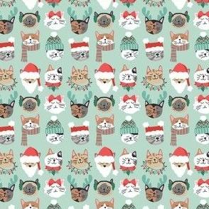 Christmas Kitty Cat Faces on Green mini