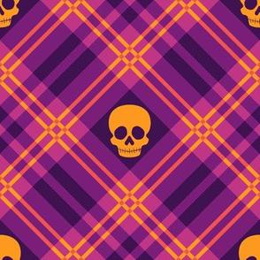 Skull Tartan Plaid in Warm Purple