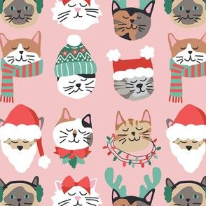 Christmas Kitty Cat Faces on Pink