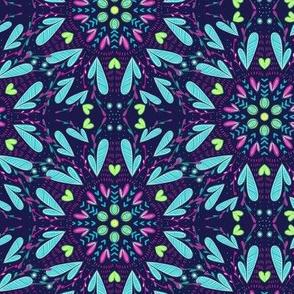 Floral Mandala Pattern -Dark Background