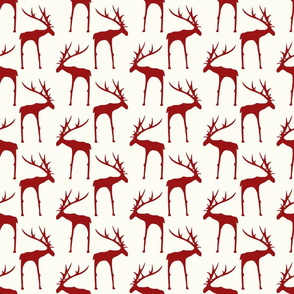 Deer - Red & White Christmas - Red, Off White