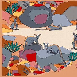 Where's wallaby? Tea towel in ochre tones