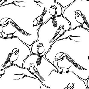 Inkblot Black Capped Chickadees