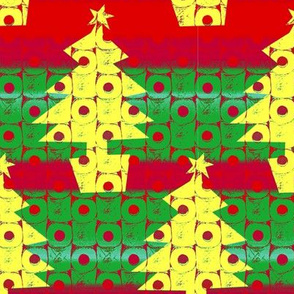 Toilet paper Xmas trees - red, yellow, green