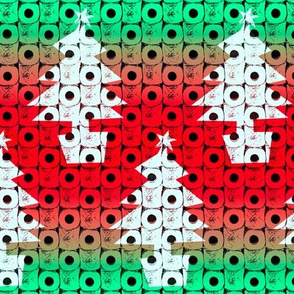 Toilet paper Xmas trees - red and green