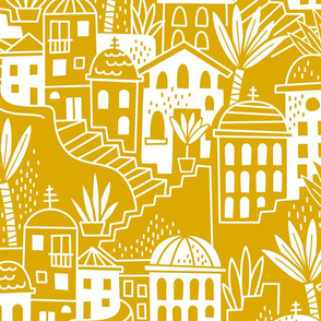 Mediterranian houses mustard yellow