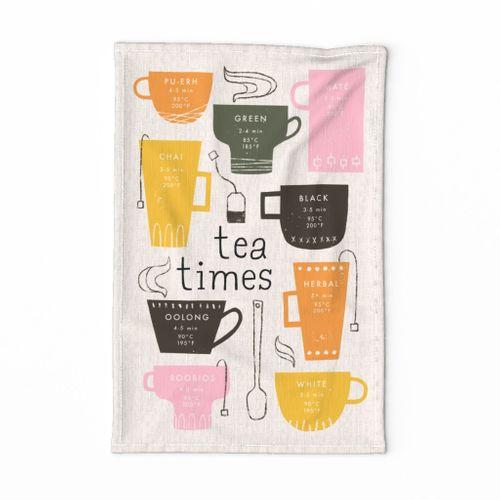Retro Tea Times Tea Towel - Purchase on Linen Cotton Canvas