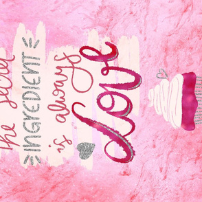 Kitschy Kitchen towel - love is the ingredient cupcake lettering