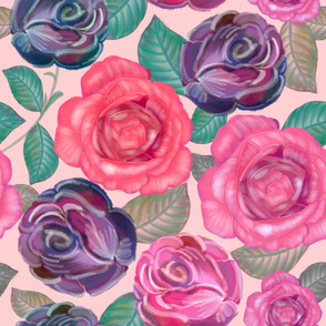Watercolor Roses and Mix Flower Bouquet Pattern