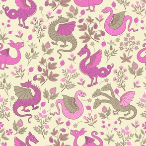 small - Dragons and flowers - Pink