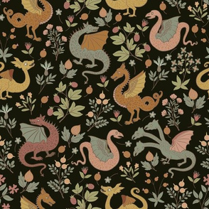 small - Dragons and Flowers - Folk art colours