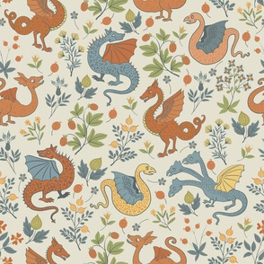 Small - Dragons and flowers - blue and orange