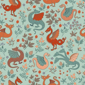 Small - Dragons and flowers - teal and red