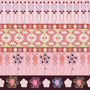 Decorative Border Colorful Flowers and Art Deco Shapes Pattern