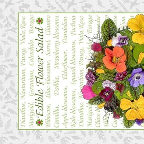 Edible Flower Salad Tea Towel