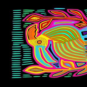 Panama Mola Tropical Island Parrot Tea Towel