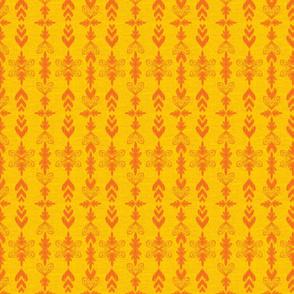 Ikat Hearts Orange Yellow