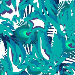 Abstract, organic. Fireflies and leaves, white, turquoise, blue, purple