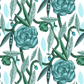 Marigold and Tangled Pea Plant in Blue and Green