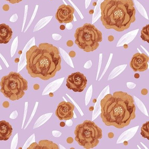 Scattered Abstract Flowers in Purple and Orange